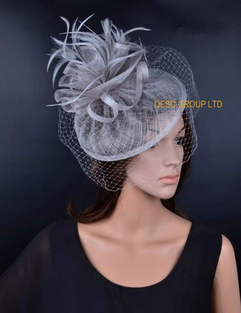 246e0a42319 NEW 12 colours Silver Grey Sinamay Fascinator hat with feathers birdcage  veil for wedding