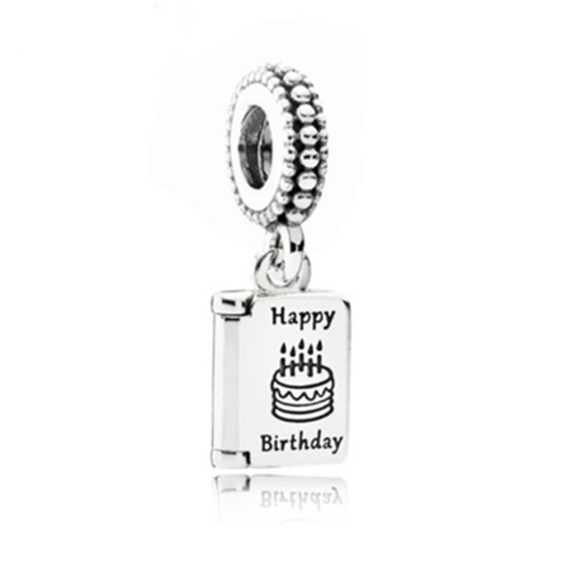 Genuine 925 <font><b>sterling</b></font> <font><b>silver</b></font> Best Wish Birthday Card pendant&bead fits <font><b>PAN</b></font> Charm <font><b>Bracelet</b></font> Fashion Jewelry Free Shipping image