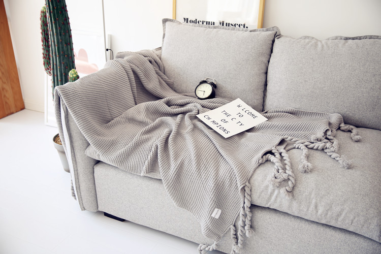 2018 New Nordic Style Casual Knitted Blanket with Tassel Home Decoration Pink Throw Blankets for Sofa Bed Cover Plaids Bedpread