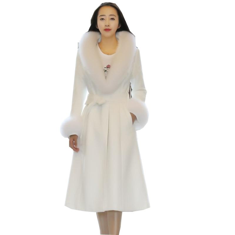 Imitation Manteau purple Haute Qualité Femmes Long Slim Renard white Hiver Automne Manteaux Femme vent Coupe Laine White De 2018 Moyen Nouvelle creamy Veste Fourrure nv6nqzPgw