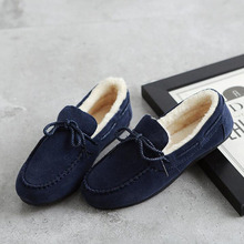 2017 New Arrival Women Casual Warm Fleece Doug Shoes Breathable Flat Cotton Shoes Loafers Leather Non-slip Shoes Size 35-40