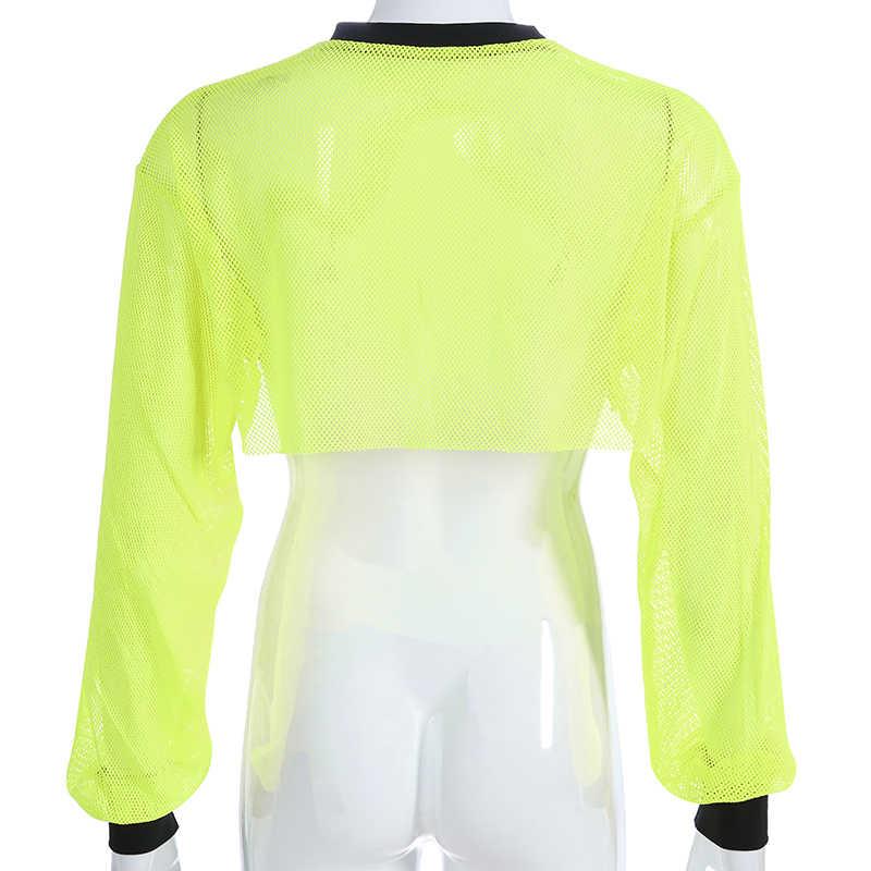 Darlingaga/уличная неоновая желтая Сетчатая футболка в сеточку с длинными рукавами, прозрачная футболка с буквенным принтом, летний укороченный топ, новая футболка
