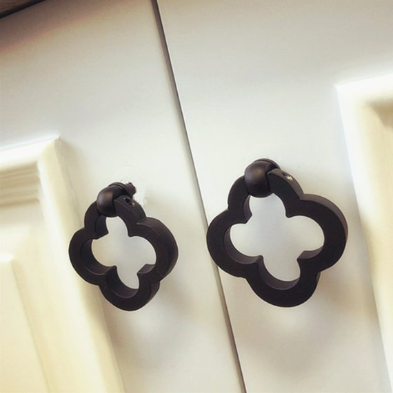 1pc Flower Drop Ring Black Drawer knobs Pull Handle Cabinet Knobs Kitchen Door Furniture Knob Hardware