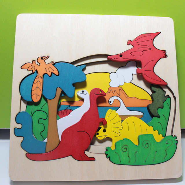 3 Layer Wood Jigsaw Puzzle 3D Animal Dinosaur Educational Toy For Kids Wooden Learning