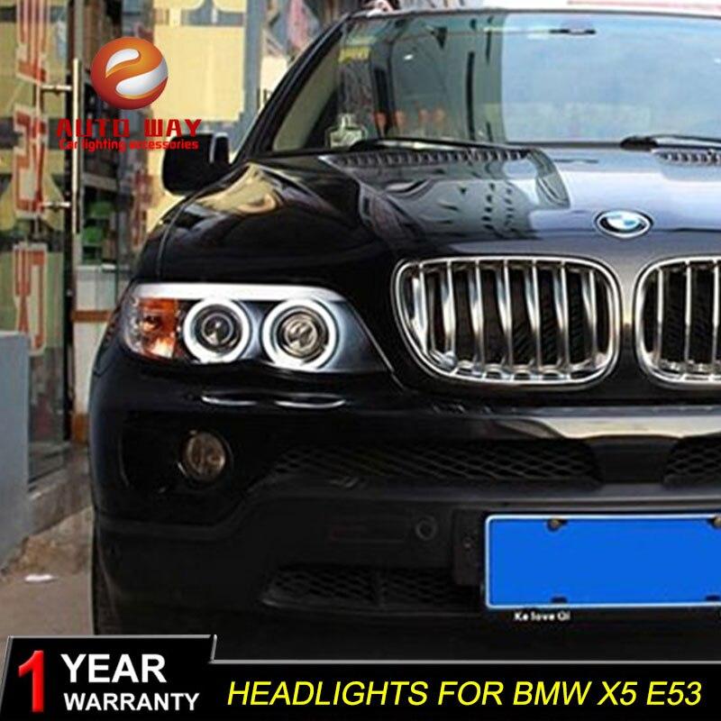 Автомобиль голове стиль лампы для BMW X5 2003 2006 фары светодиодный X5 фар DRL Объектив Двойной Луч Bi Xenon HID аксессуары