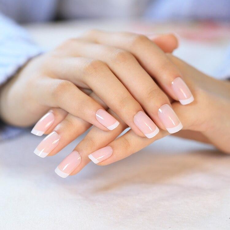 Faux ongles français, blancs, classiques, couverture complète, ovale, naturelle, à la mode, 24 pièces/ensemble