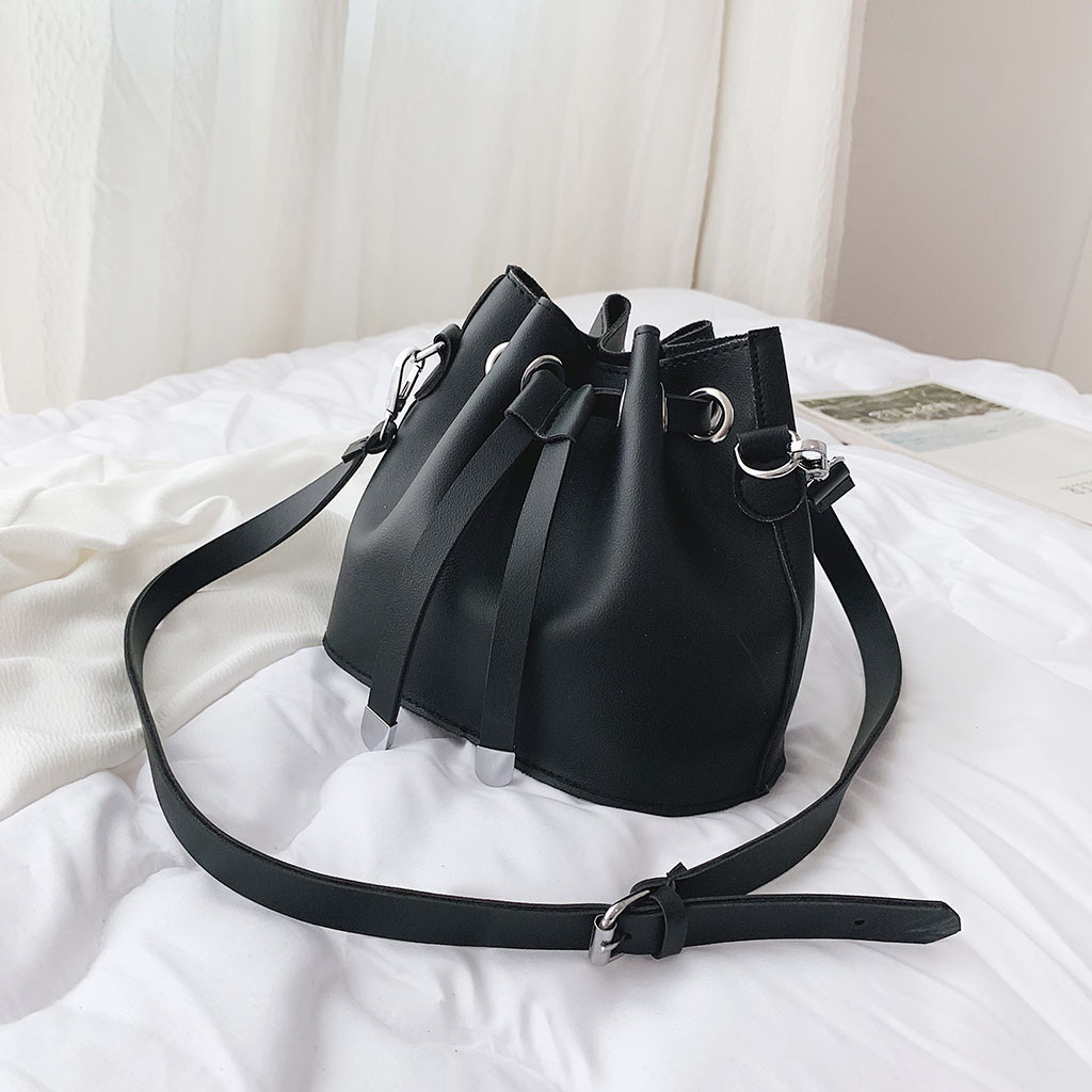 Women\'S Pu Leather Bucket Bag Lady Versatile Simple Style Chic Stylish Drawstring Crossbody Bag S