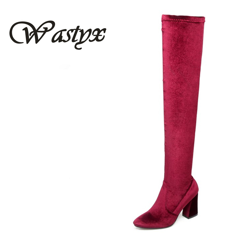 Wastyx Women Boots Sexy Overknee High Heels Faux Suede Chunky Thigh High Boots Stretch Over the Knee Boots Woman Shoes Plus Size