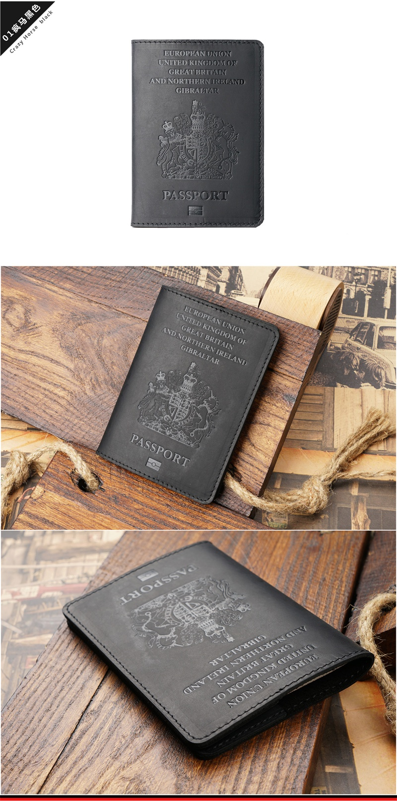 Black UK Real Leather Passport Holder