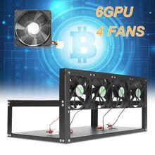 6 GPU Mining Rig Aluminum Case + 4 Fans Open Air Frame ETH/ZEC/Bitcoin HOT