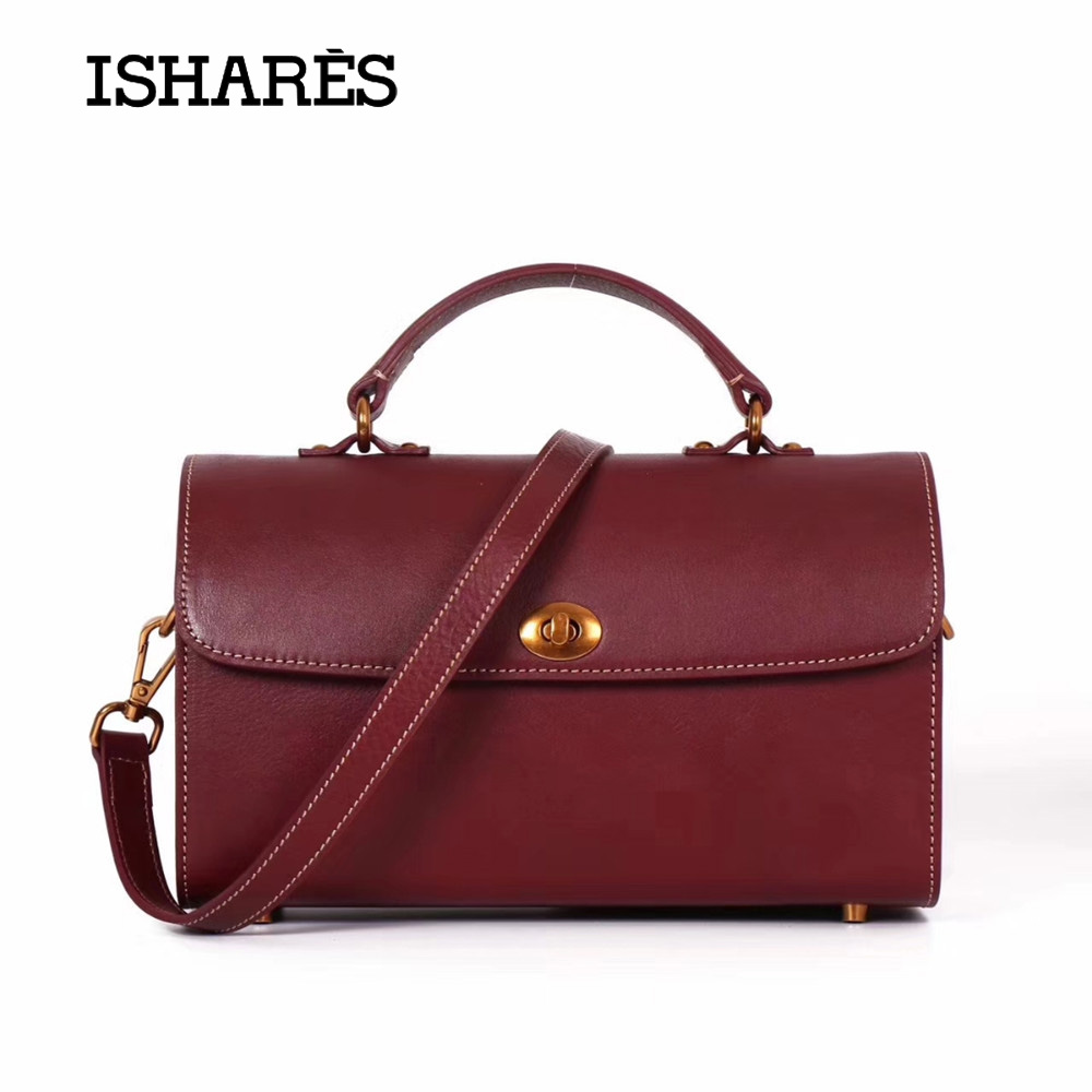 ISHARES Genuine Leather handbags women messenger bags Natural Cow High Quality Special Fashion designer Bags IS9295