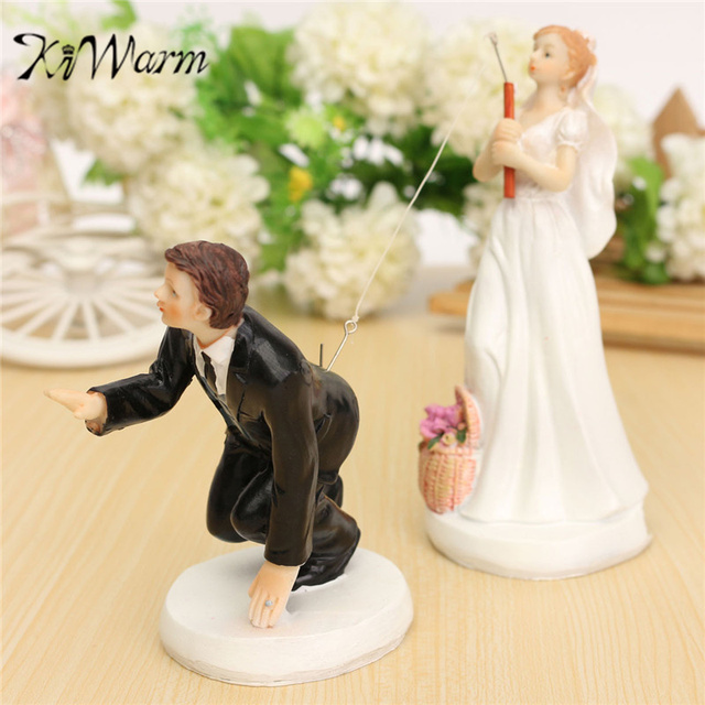 KiWarm Lovely Wedding Cake Toppers Fishing Bride Groom Couple Cake ...