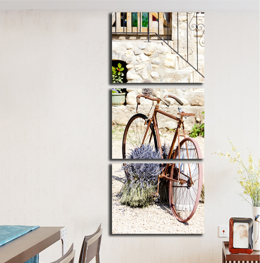 Free shipping wall art canvas painting bicycle car street HD print Modular Picture for room decoration retro style poster FA264