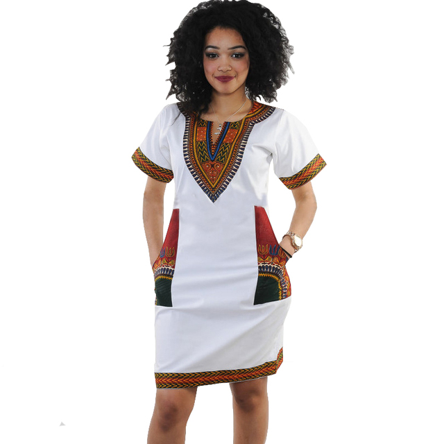 9c4e7e893a11f Dashiki dress 2018 Summer Sexy African Print Pocket Shirt Dresses Femme  Vintage Mini hippie Plus Size Boho Women Casual Clothing