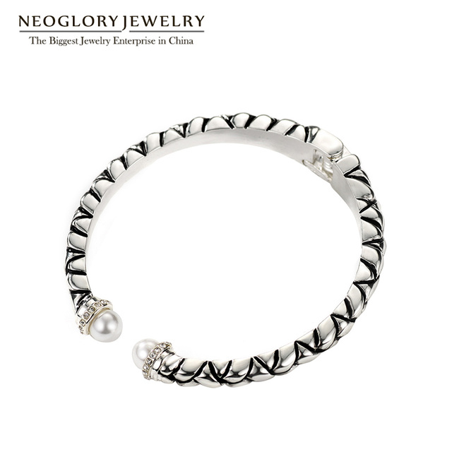 Neoglory Rhinestone Antique Silver Plated Adjustable Bracelets & Bangles for Women Fashion Jewelry 2017 New Brand Gifts FA