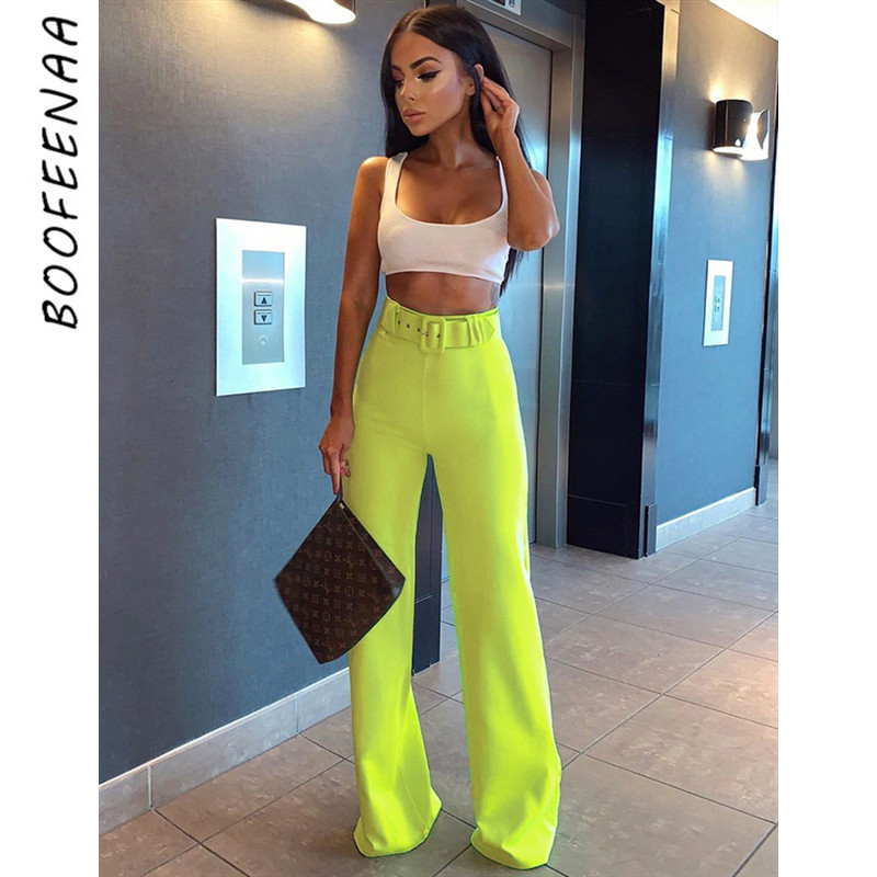 BOOFEENAA High Waist   Wide     Leg     Pants   with Belt Fall 2019 Women Bottoms Neon Yellow Black Elegant Work Trousers C83-AB47