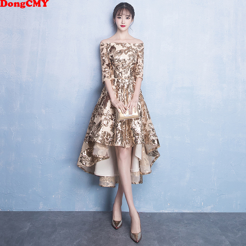 DongCMY Gold Color Princess   Bridesmaid     Dresses   Half Sleeve Wedding Party Junior Vestido Gown