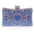 New 2015 glass diamond silver evening bags top quality gold clutch bag elegant blue bag party wedding bridal purse w641