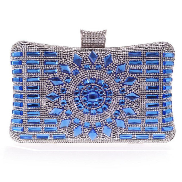 New 2015 glass diamond silver evening bags top quality gold clutch bag elegant blue bag party wedding bridal purse w641