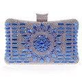 Nuevo 2015 de cristal de diamante de plata de noche bolsas bolso de embrague de oro de calidad superior azul elegante de la boda del partido del bolso nupcial bolso w641