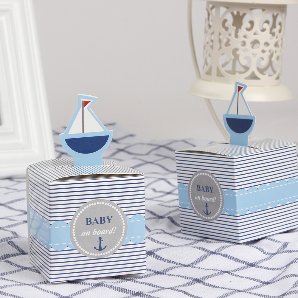 12Pcs Baby On Board! Pop-Up Sailboat Baby Candy Box Blue Birthday Party Baby Shower Decorations Kids Favor Gift Box ...