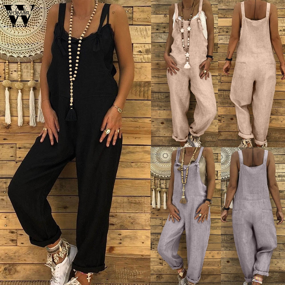 Womail bodysuit Women Summer Casual Linen Long Playsuit Dungarees Harem Overall   Jumpsuit   Solid fashion 2019 dropship M1