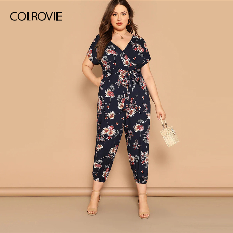 COLROVIE Plus Size Navy Floral Print Belted Wrap   Jumpsuit   Women 2019 Summer Boho V Neck Short Sleeve Female Glamorous   Jumpsuits