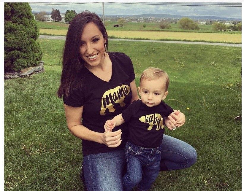 Mãe e filho roupas roupas família mãe e bebê urso tshirt boho roupas roupas de bebê 2019 crianças de verão moda família correspondência