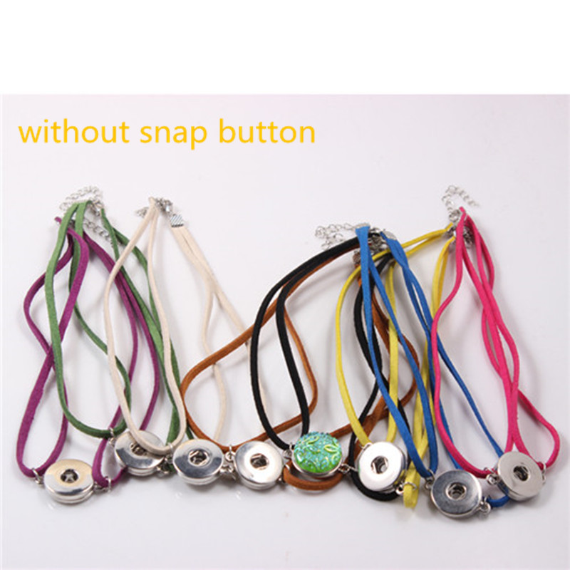Woman Snap Jewelry Colorful Velvet Ribbon Gothic Tattoo Choker Necklace With Lobster Clasp Fit 18mm/20mm Snap Button