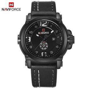 Image 5 - NAVIFORCE 9099 Mens שעונים למעלה מותג יוקרה ספורט קוורץ שעון עור רצועת שעון גברים עמיד למים שעוני יד Relogio Masculino