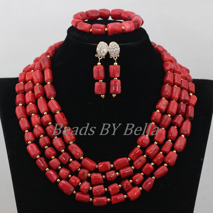 Latest New Red Coral Beads Jewelry Set Nigerian Wedding Women Costume African Beads Bridal Jewelry Sets Free Shipping ABF783Latest New Red Coral Beads Jewelry Set Nigerian Wedding Women Costume African Beads Bridal Jewelry Sets Free Shipping ABF783