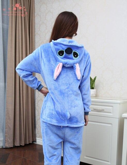 Flanela Bem Humorado Animal Azul Ponto Pajams Onesie Adulto Unisex Cosplay Pijama All In One Jumpsuit Festa Tamanho XXS XL