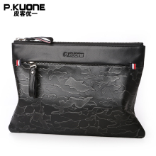 P.KUONE Brand Genuine Leather Envelope Bag Men Clutch Bags Camouflage Design Hand Bag Wallet Male Purse Men Long Wallet