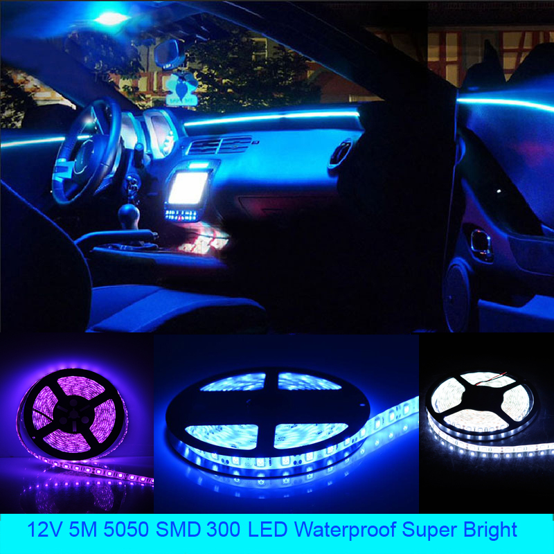 5050 SMD 300 LED Flexible Light Strip 5m 60 LEDs /m 12V Waterproof Decorative Lights Super Bright Car Decoration Lamp Strip DIY