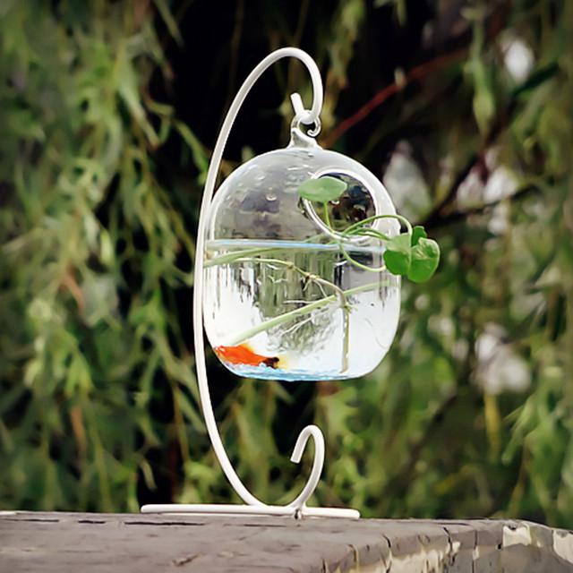 O. RoseLif Heureux Vie Aquariums Accrocher Aquarium En Verre Mini Hydroponique Acuario Fleur Vase et le Réservoir de Poissons De Mariage Décoration Décoration De La Maison décor