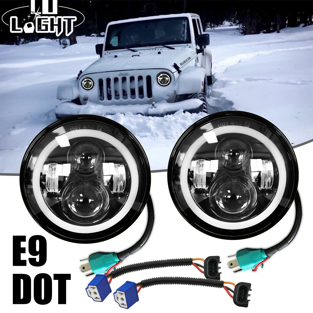 COLIGHT 7 LED Headlight 50W 30W Led 12V 24V Hi/Low Anglel Eye for Hummer Toyota Jeep Wrangler Lada Harley Car styling Auto DRL 9012 hir2 led headlight bulbs 50w 8000lm fanless auto headlamp conversion kit for toyota chevrolet cadillac buick gmc ford jeep