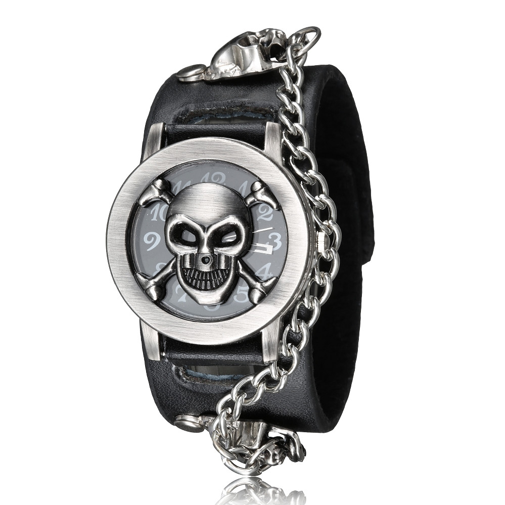 Fashion Black Clamshell Skull Skeleton Watch Dial Punk Rock Quartz Mens Wristwatches Chain Skull Leather Band Retro Mens Watches недорго, оригинальная цена