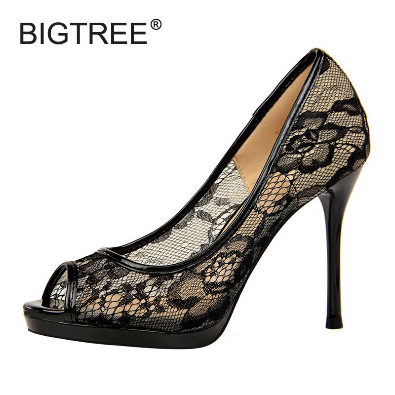 BIGTREE New Women Open Toe Platform High Heels Shoes Sexy Lace Slip-on Pumps For Women Ladies Elegant Wedding Shoes Size 34-40
