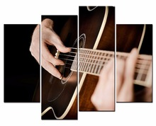 4 Panels Framed guitarist Painting Canvas Wall Art Picture Home Decoration Living Room Print Modern Painting/10Y-22