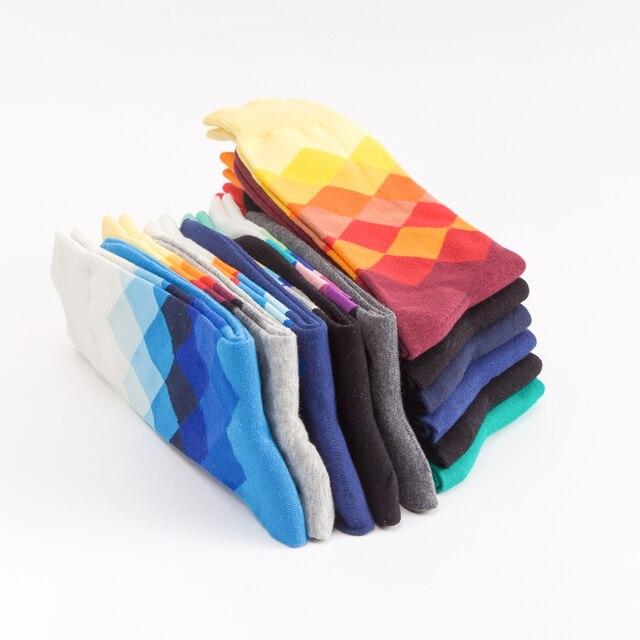 Jhouson 1 pair Classic Men's Combed Cotton Colorful Happy Funny Socks Diamond Geometric Pattern Causal Dress Business Socks 5