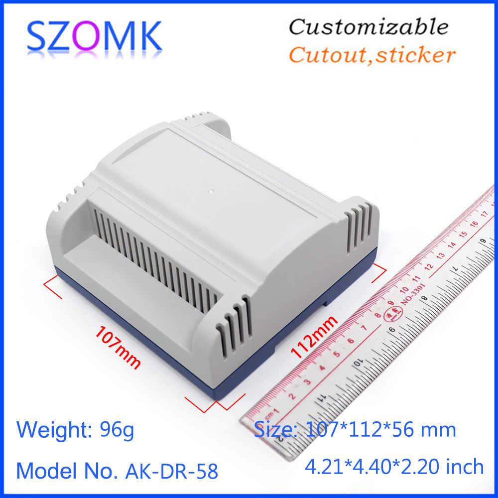 10 ピース 107*112*56 ミリメートル szomk 高品質プラスチックの箱 din レール電子エンクロージャコントローラケースプラスチック機器プロジェクトボックス