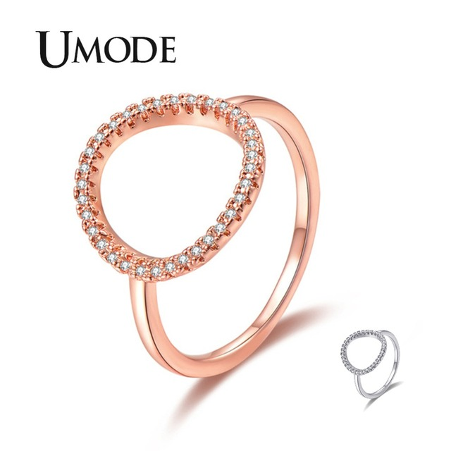UMODE Fashion Crystal Trendy Rings for Women Hollow O Shape Round Circle Cubic Zirconia Rings Girls Wedding Band Jewelry UR0455