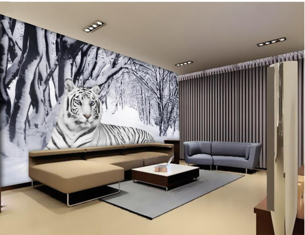 Chinese murals wallpaper snow white tiger 3d wallpaper for Chinese mural wallpaper