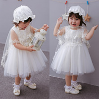 white lace angel girl dress infant baptism dress baptism wearing with beret hat cape cute ball gown princess wedding wearing
