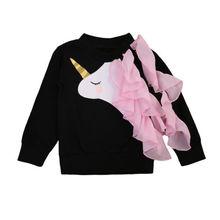 Милые детские детская одежда для девочек Единорог рюшами Топы корректирующие толстовки одежда с длинными рукавами От 0 до 4 лет
