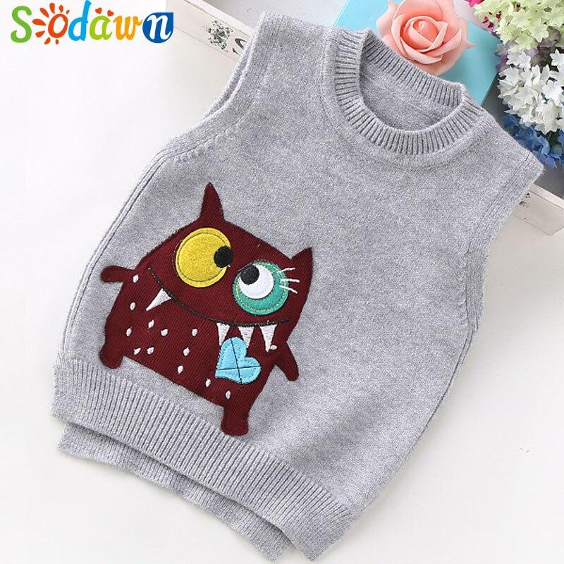 Sodawn New Autumn Children Sweater Boys Girls Clothes Cartoon Knitting Vest Baby Vest Fashion Knitting Vest Kids Clothing