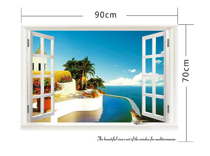3D Removable Beach Sea Window Scenery Wall Sticker-Free Shipping 3D Wall Stickers nature wall decals