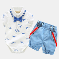 0 2Y Summer Newborn Baby Boy Girl Clothes Set Little Shark T Shirt Overalls Blue Shorts