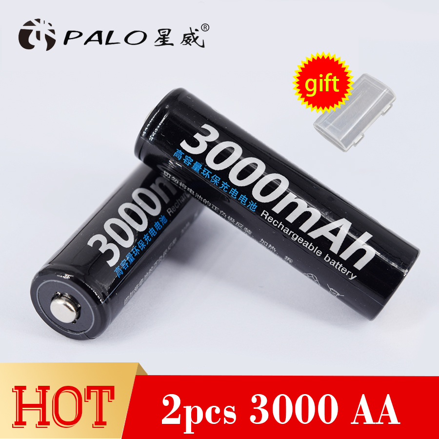 PALO 2 AA rechargeable batteries NI-MH 3000mah 1.2V pre-charged 2a Ni-MH AA batteries 1800 cycles for camera microphone camera rechargeable 1 2v 3800mah aa ni mh batteries pair