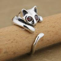 925 Sterling Silver Cat 3 Colour CZ Stone Eyes Fashion Ring 9K005A Free Size 5~8